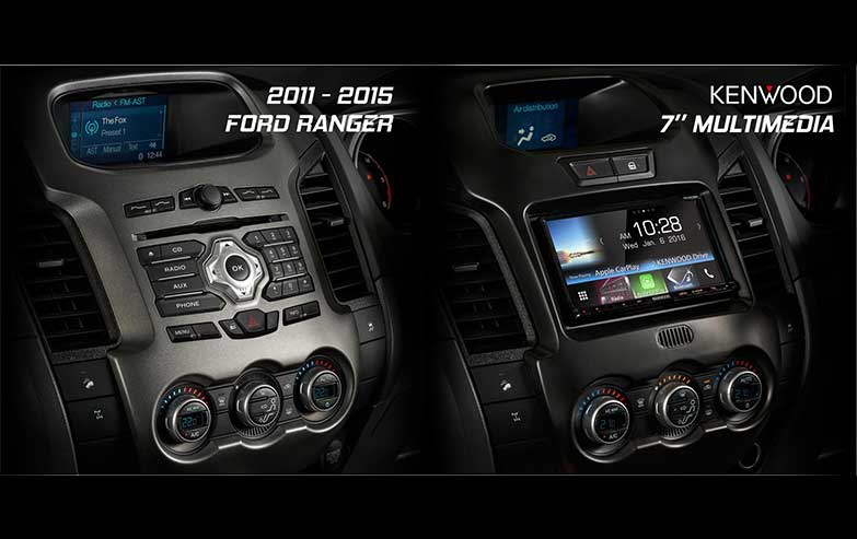 Before and After Ford-Ranger-2011-2015-Kenwood-7-Inches-Multimedia Stereo Upgrade