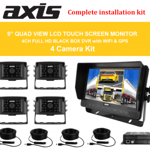 """RS-AXIS-9"""" QUAD VIEW LCD TOUCH SCREEN MONITOR DVR with WI-FI-GPS 4 Camera Kit"""