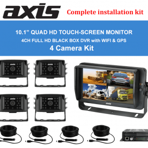 RS-Axis 10.1inches QUAD HD TOUCH-SCREEN MONITOR DVR with WI-FI-GPS 4 Camera Kit