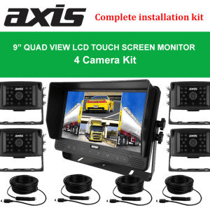 """RS-Axis 9"""" QUAD VIEW LCD TOUCH SCREEN MONITOR 4 Camera Kit"""